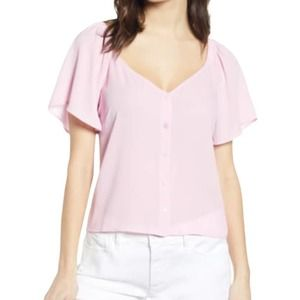 All In Favor Flutter Sleeve Button Up Top